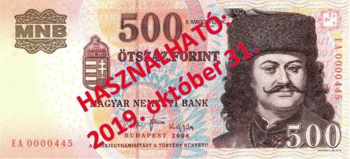 2019. október 31-ig fizethetünk a régi 500 forintos bankjeggyel